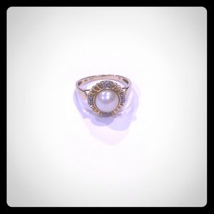 😍14K Gold Pearl Ring